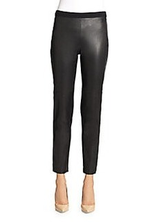 St. John Alexa Leather-Front Pants