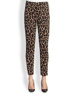 St. John Alexa Leopard-Print Jacquard Knit Pants