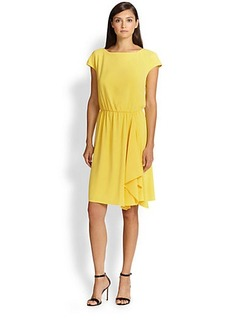 St. John Cap-Sleeve Crepe Dress