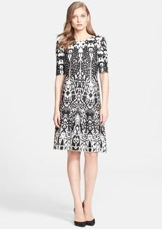 St. John Collection Animal Jacquard Knit Fit & Flare Dress