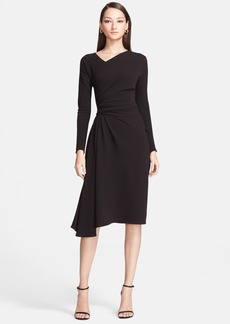 St. John Collection Asymmetrical Drape Luxe Crepe Dress
