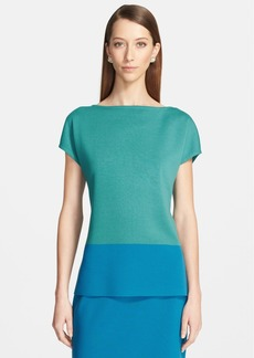 St. John Collection Bateau Neck Cap Sleeve Milano Knit Top
