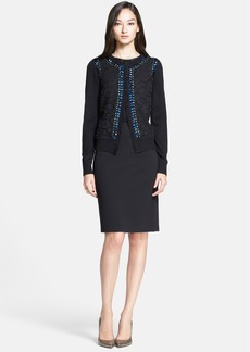 St. John Collection Beaded Lace Front Silk & Cashmere Cardigan