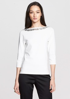 St. John Collection Beaded Neck Compressed Stretch Knit Sweater