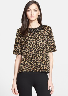 St. John Collection Beaded Neck Metallic Leopard Jacquard Knit Top