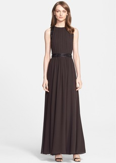 St. John Collection Belted Embellished Silk Georgette Gown