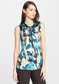 St. John Collection Blossom Print Stretch Silk Charmeuse Shell