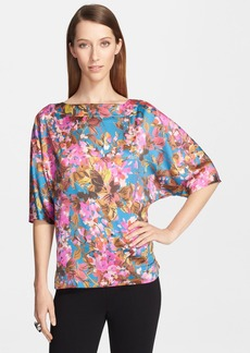 St. John Collection 'Botanica' Print Batwing Sleeve Silk Charmeuse Top