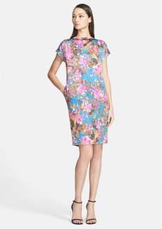 St. John Collection 'Botanica' Print Silk Charmeuse Cap Sleeve Dress