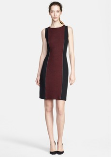 St. John Collection Bouclé Knit Dress with Leather Trim