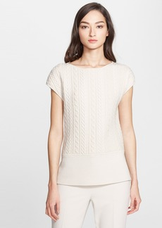 St. John Collection Cable Detail Milano Knit Top