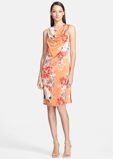 St. John Collection Chrysanthemum Print Stretch Silk Charmeuse Shift Dress