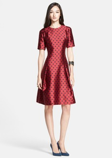 St. John Collection 'Classic Dot' Full Skirt Mikado Jacquard Dress