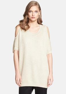 St. John Collection Cold Shoulder Sparkle Piqué Knit Sweater