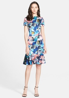 St. John Collection Collage Floral Print Stretch Silk Charmeuse Dress
