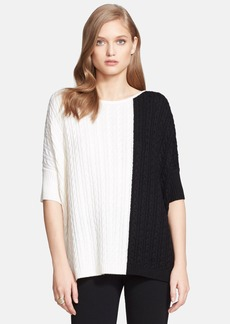 St. John Collection Colorblock Cable Knit Sweater