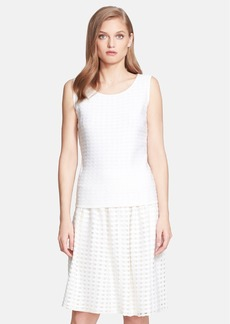 St. John Collection Crepe Grid Knit Shell
