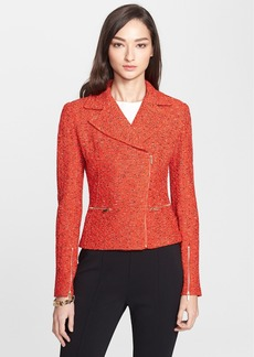 St. John Collection Crinkle Tweed Asymmetrical Moto Jacket