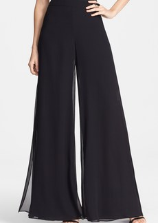 St. John Collection Crinkled Silk Georgette Wide Leg Pants
