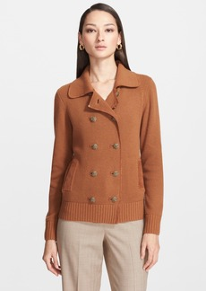 St. John Collection Double Breasted Wool & Cashmere Jacket with Suede Trim