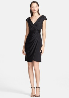 St. John Collection Draped Faux Wrap Crepe Dress