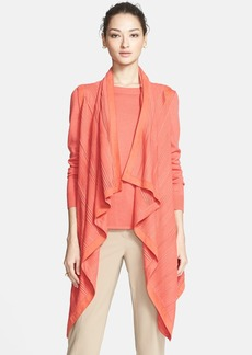St. John Collection Draped Silk & Cashmere Vest with Suede Trim