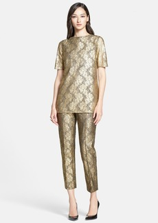 St. John Collection Elbow Sleeve Gilded Lace Tunic