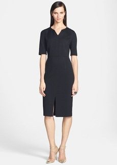St. John Collection Elbow Sleeve Milano Knit Fitted Dress