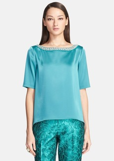 St. John Collection Embellished Cascade Hem Liquid Satin Blouse