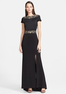 St. John Collection Embellished Liquid Crepe & Shimmer Milano Knit Gown