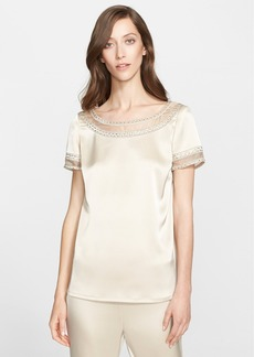 St. John Collection Embellished Liquid Satin Short Sleeve Blouse