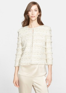St. John Collection Embellished Metallic Eyelash Fringe Jacket
