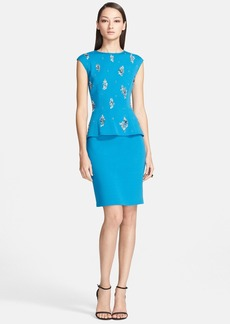 St. John Collection Embellished Milano Knit Peplum Dress