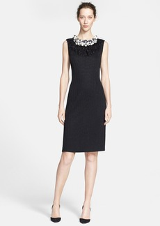 St. John Collection Embellished Neckline Sleeveless Croc Jacquard Sheath Dress