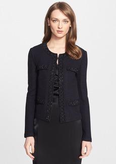 St. John Collection Embellished Shimmer Texture Knit Jacket