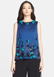 St. John Collection Embellished Structured Stretch Satin Top