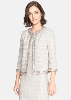 St. John Collection Embellished Textured Tweed Knit Jacket