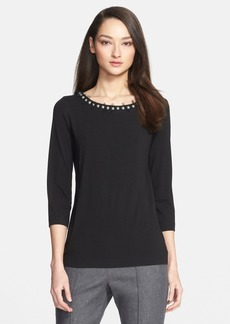 St. John Collection Embellished Three-Quarter Sleeve Jersey Tee