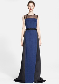 St. John Collection Embellished Waist Shimmer Milano Knit Gown