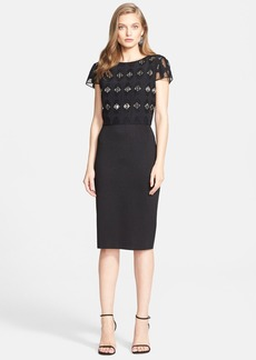 St. John Collection Embroidered Bodice Shimmer Milano Knit Dress