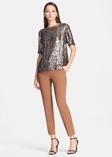 St. John Collection Embroidered Sequin Crop Shirt