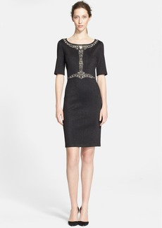 St. John Collection Embroidered Shimmer Milano Knit Dress