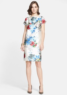 St. John Collection Enchanted Floral Print Mikado Shift Dress