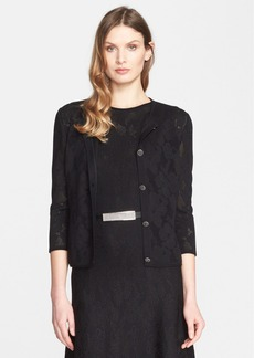 St. John Collection Engineered Floral Lace Knit Cardigan