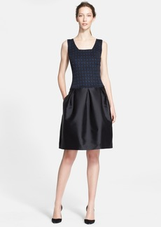 St. John Collection Etched Geo Sparkle Jacquard & Mikado Satin Dress
