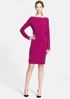 St. John Collection Faux Wrap Detail Crepe Jersey Dress
