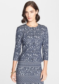 St. John Collection Floral Jacquard Knit Cardigan