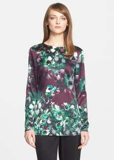 St. John Collection Floral Print Stretch Silk Charmeuse Tunic