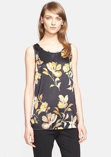 St. John Collection Floral Print Stretch Silk Shell (Nordstrom Exclusive)
