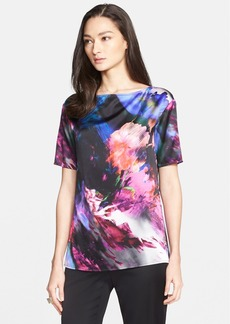 St. John Collection Floralscape Print Stretch Silk Charmeuse Top